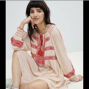 Free People Dress creamred Embroidery Oversized xs